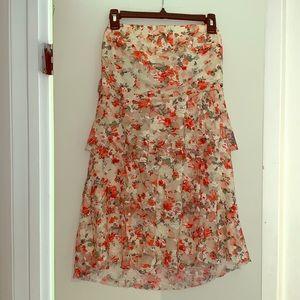 Large mini dress ruffled with flowers